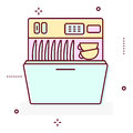 Washing machine line style vector icon.