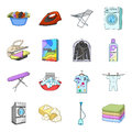 Washing machine, powder, iron and other equipment. Dry cleaning set collection icons in cartoon style vector symbol