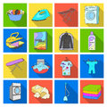 Washing machine, powder, iron and other equipment. Dry cleaning set collection icons in flat style vector symbol stock