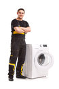 Washing machine repairman studio photo of Stock Images