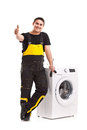 Washing machine repairman studio photo of Stock Photography