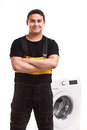 Washing machine repairman studio photo of Royalty Free Stock Photography