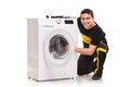 Washing machine repairman studio shoot of Stock Photo