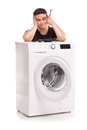 Washing machine repairman studio shoot of Royalty Free Stock Photos