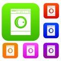Washing machine set color collection Royalty Free Stock Photo