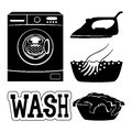 Washing machine and set of icons.