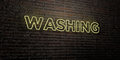 WASHING -Realistic Neon Sign on Brick Wall background - 3D rendered royalty free stock image Royalty Free Stock Photo