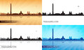 Washington city skyline silhouettes set Royalty Free Stock Images