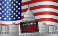 Washington dc capitol with we are closed sign us building on us american flag background illustration Royalty Free Stock Photo