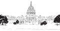 Washington dc capitol with garden landscape usa hand drawn pencil vector illustration hand drawn vector sketch illustration travel Royalty Free Stock Images