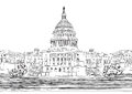 Washington dc capitol with garden landscape usa hand drawn pencil vector illustration hand drawn vector sketch illustration travel Stock Images