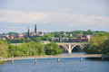 Washington dc key bridge and georgetown panoramic view of in a cloudy sky Royalty Free Stock Photography