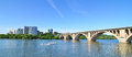 Washington dc key bridge and rosslyn panoramic view of in a clear sky Stock Photography
