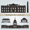Washington dc landmarks and monuments isolated on blue background in editable vector file Royalty Free Stock Photos