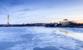 Washington dc landmarks in winter landscape view across the icy potomac river the tidal basin of where tourists can see the Royalty Free Stock Photos