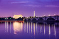 Washington DC Monuments on the Potomac Royalty Free Stock Photo