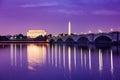 Washington DC Monuments on the Potomac Royalty Free Stock Photo