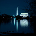 Washington dc monuments reflecting in the potomac river taken from across Royalty Free Stock Image