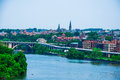 Washington dc by the potomac river elevated view of in picture are key bridge and georgetown waterfront park and harbor Royalty Free Stock Image