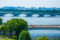 Washington dc by the potomac river elevated view of in picture is theodore roosevelt memorial bridge Royalty Free Stock Photo
