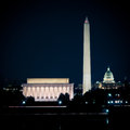 Washington dc skyline at night the long exposure color image Royalty Free Stock Photo