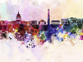 Washington dc skyline in watercolor background abstract Stock Photos