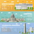 Washington DC tourist landmark banners. Vector illustration. Capitol, White House. Royalty Free Stock Photo