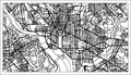 Washington DC USA Map in Black and White Color.