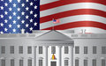 Washington dc white house us flag background president building with american illustration Stock Image