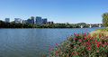 Washington key bridge on potomak river panoramic view of in d c with flowers and rosslyn Royalty Free Stock Photos