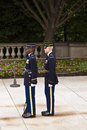 Changing of the guard at the tomb of the unknown soldier at Arlington national Cemetery in Washington D.C. Royalty Free Stock Photo