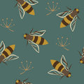 Wasps seamless pattern colorful with on a blue background Royalty Free Stock Image
