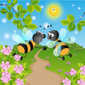 Wasps sunny summer landscape vector illustration Stock Photo