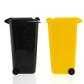 Waste bin black and yellow isolated over white background Stock Images