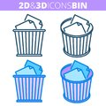 The waste bin. Flat and isometric 3d outline icon set.