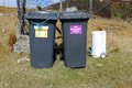 Waste bins a pair of with colour coded signs yellow with the words organics only and purple with non recyclable on grass Stock Photo