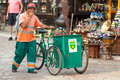 Waste collector sarajevo bosnia and herzegovina august pushes trolley on bascarsija the old town very popular tourist place Stock Images