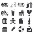Waste and gabage icons set of Stock Photography