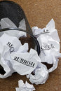Waste paper basket crumpled paper words recycle rubbish Royalty Free Stock Photography