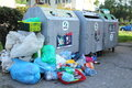 Waste piles of rubbish around a communal bin city of gdynia poland Royalty Free Stock Photography