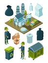 Waste recycle isometric. Refuse garbage facility sort plastic container disposal trash truck vector symbols