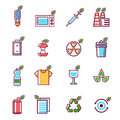Waste rubbish pollution ecology recycling set outline eco energy concept garbage disposal trash vector illustration