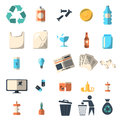 Waste sorting and recycling isolated symbols Royalty Free Stock Photo