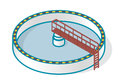Wastewater treatment plant in stylized outline vector symbol. Isometric infographics.