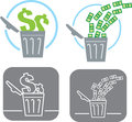 Wasting money icon showing that is wasted Stock Photos