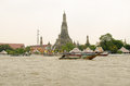 Wat arun bangkok thailand october view from a boat on the chao phraya river towards the historic historic buddhist temple in Royalty Free Stock Image