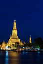 Wat arun at dusk temple of dawn prang with lighting in twilight bangkok thailand Royalty Free Stock Images