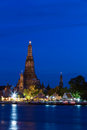 Wat arun at dusk temple of dawn prang in twilight bangkok thailand Royalty Free Stock Image