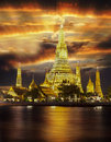 Wat arun landscape of river and temple in bangkok city in fesival night time Stock Photos