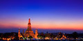 Wat arun in the sunset ratchawararam ratchawaramahawihan or with sky bangkok of thailand Stock Photography